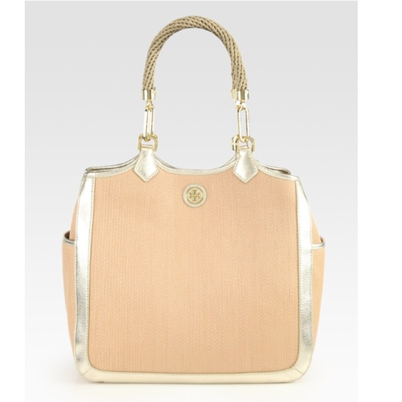 94c94d5b02f5 Tory Burch Channing Straw and Leather Tote Bag. M 5b3966b6534ef94f9409f497
